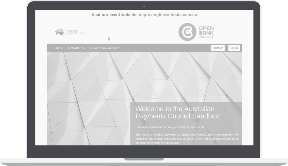 Greyscale Australian Payments Council Sandbox page with Open Bank Project logo