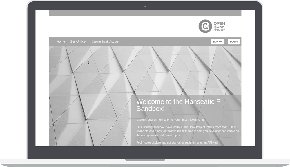 Greyscale Hanseatic P Sandbox with Open Bank project logo