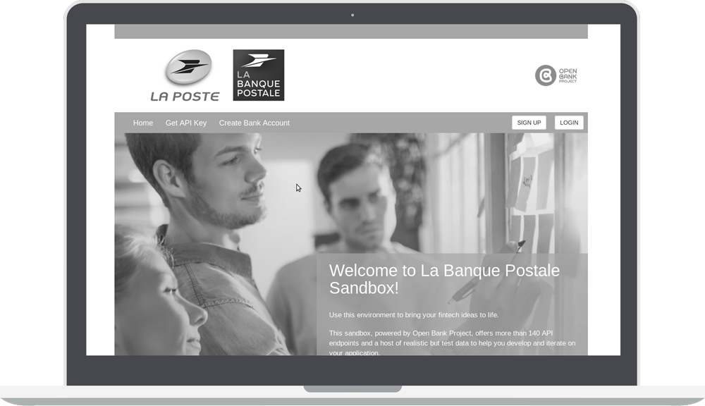 Greyscale La Banque Postale Sandbox with Open Bank project Logo
