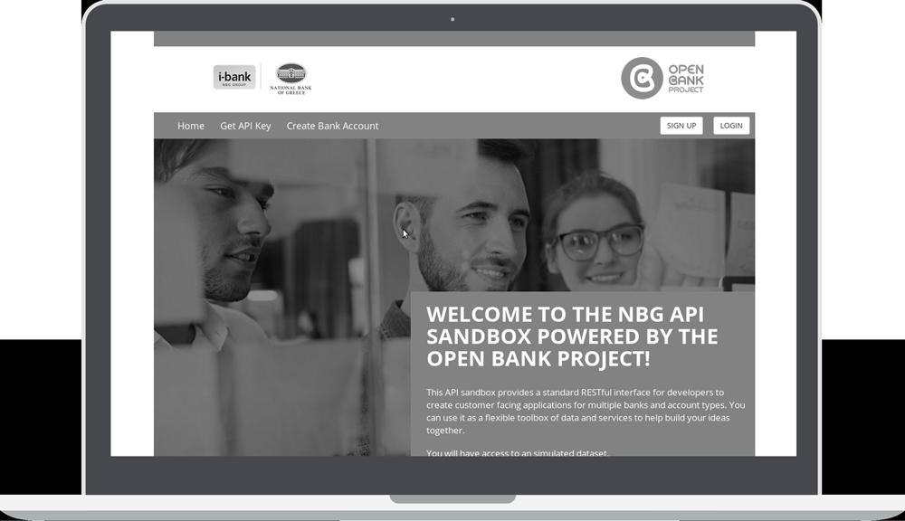 Greyscale NBG i-bank Sandbox with Open Bank project logo