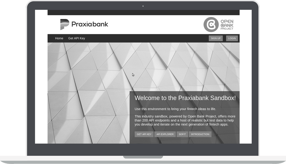 Greyscale Praxiabank Sandbox with Open Bank project logo