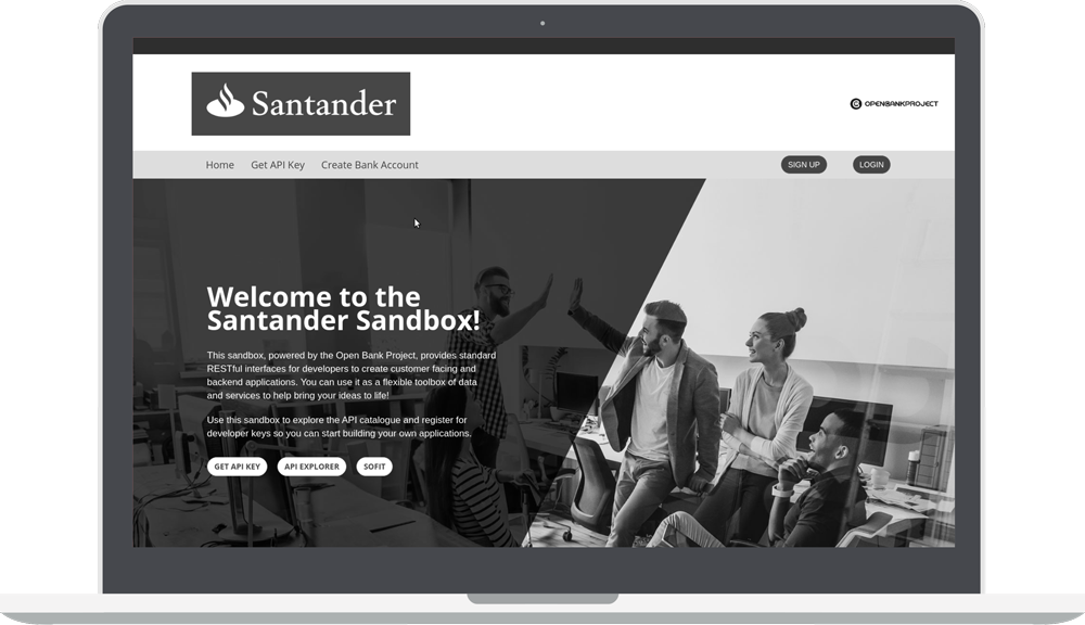 Greyscale Santander Sandbox page with open bank project logo