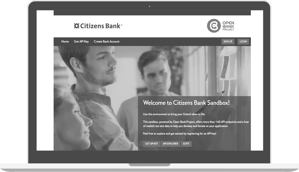 Greyscale Citizens Bank Sandbox Page with Open Bank Project logo