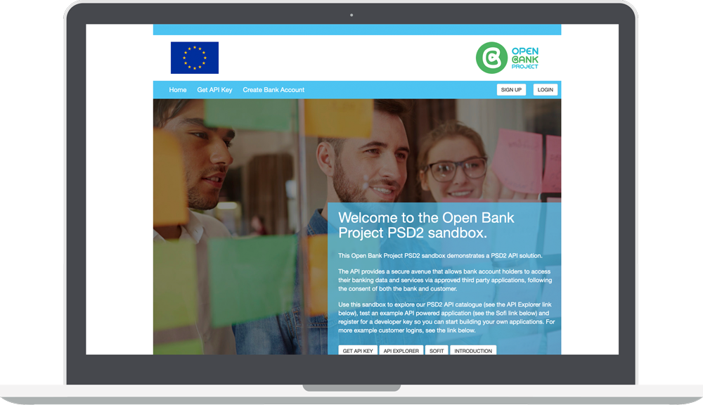 Open Bank Project PSD2 Sandbox page with OBP logo and European flag