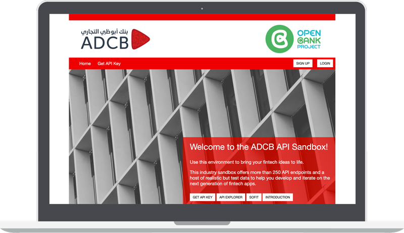 The ADCB API Sandbox page with the Open Bank project logo