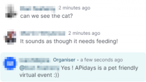 Attendees asking to see the speaker's cat